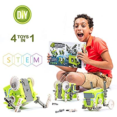 RT Int. Building Block and Transformation Robot | DIY 4-in-1 Build and Play Toy Set for Kids | Mechanical and Engineering Educational STEM Toys for Boys and Girls Ages 6,7,8,9,10,11,12,13,14