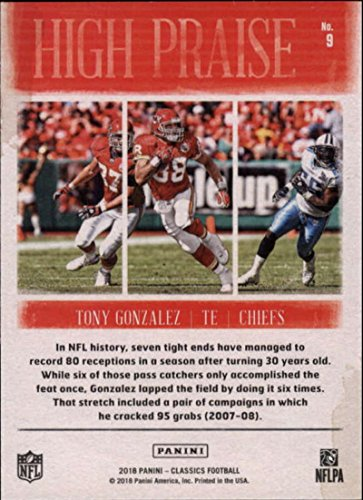 f387d2187 Amazon.com  2018 Classics Football High Praise  9 Tony Gonzalez Kansas City  Chiefs Panini NFL Card  Collectibles   Fine Art