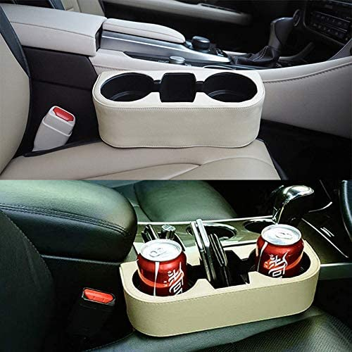 TTOUADY Car Seat Organizer Leather Cover Car Cup Holder Universal Multifunctional Car Front Seat Organizer Black