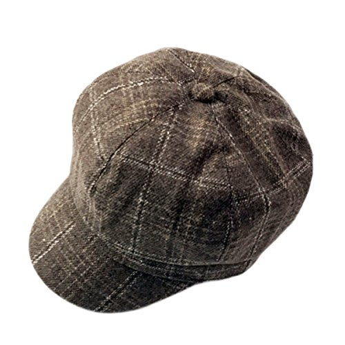 ZLSLZ Womens Retro Woolen Tweed Plaid Ivy British Newsboy Cabbie Gatsby Beret Painter Hat Cap Khaki