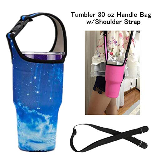YouZi Tumbler 30 oz Carrier Handle Bag w/Shoulder Strap Fit for Rtic, Atlin, Ozark Trail,YETI Rambler 30 oz Insulated Tumbler Coffee Cup (Blue- Sky) ()