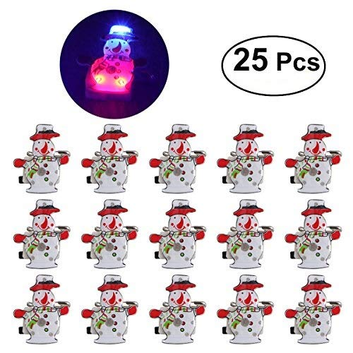 LUOEM 25Pcs Christmas Light Up Party Favors Glow Toys Supplies LED Brooch Pin Children -
