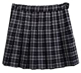 ouxiuli Women Classic High Waisted Casual Plaid Checkered College Ruched/Pleated All-Match A Line Skirt Royal Blue XS