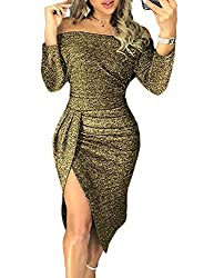 Green_2 Off The Shoulder Sequin Long Maxi Gown with Slit