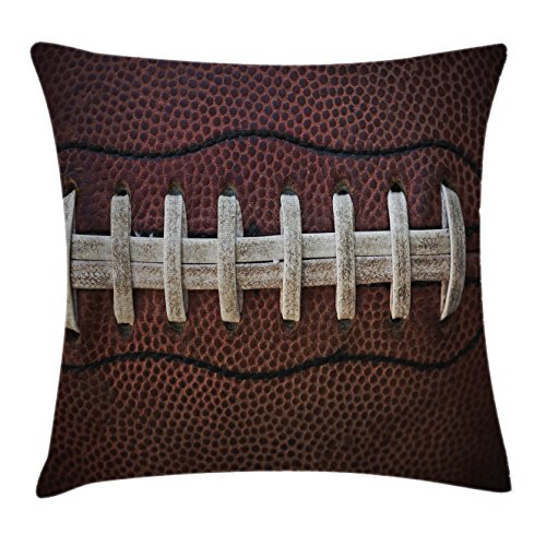 Lunarable Sports Throw Pillow Cushion Cover, American Football Leather Laces Fun Traditional Sport Close up Photo Print, Decorative Rectangle Accent Pillow Case, 26 X 16, Brown Beige