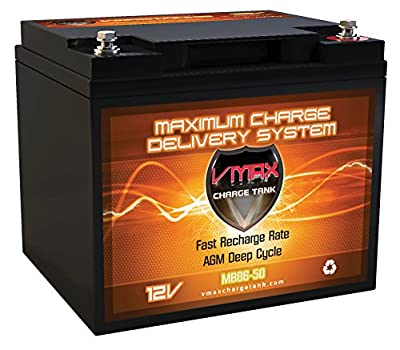 VMAX MB86-50 12V 50Ah AGM SLA Group 21R Deep Cycle Battery Replacement for Bravo EVT-168 12V 40Ah Scooter Battery (Upgrades group 21R 40Ah batteries)