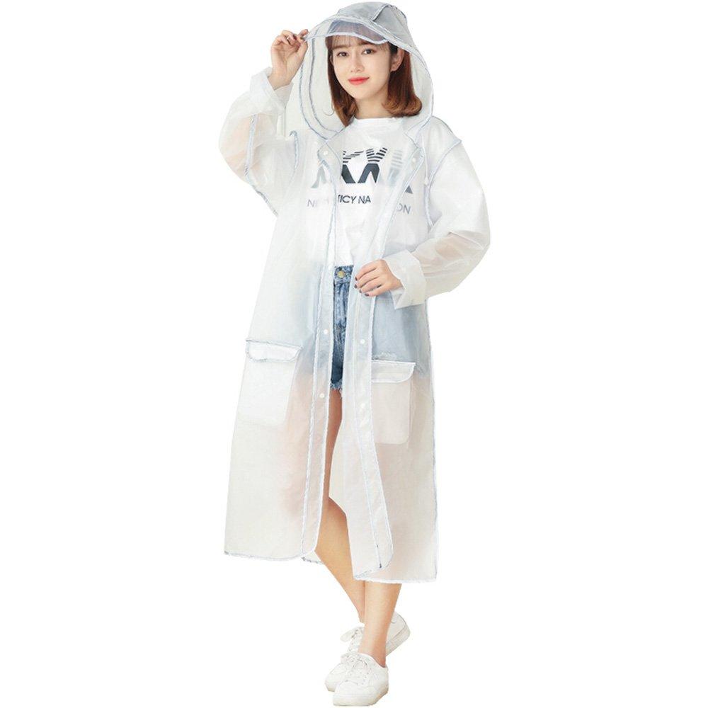 C-K-P Single Regenmantel Männer und Frauen Student Outdoor Wandern EVA Material mit Kapuze Poncho wiederverwendbare Erwachsenen Mode transparent wasserdicht Kleidung weiß Größe (L, XL)