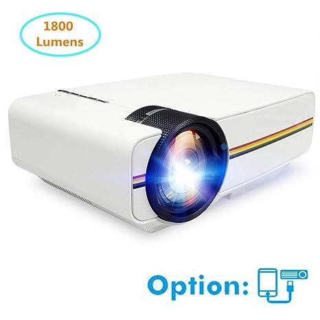 Cine en casa Proyector Mini proyector 1800 lúmenes 1080P con ...