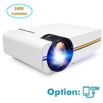 Proyector Mini proyector 1800 lúmenes 1080P con Pantalla de ...