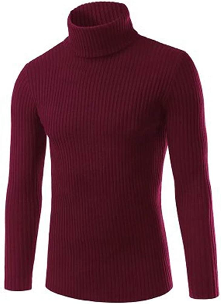 XQS Men Slim Fit Turtleneck Sweater Casual Knitted Pullover Sweater Tops