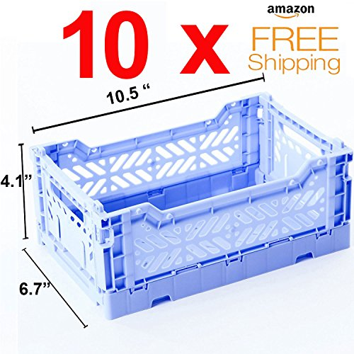 Price comparison product image 10 x AY-KASA Collapsible Storage Bin Container Basket Tote , Folding Basket CRATE Container : Storage , Kitchen , Houseware Utility Basket Tote Crate Mini-BOX (BABY BLUE)