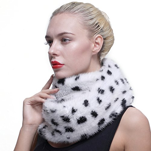 URSFUR Authentic Knit Mink Fur Infinity Hood Scarf White with Black Spot