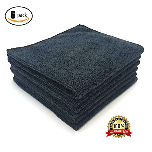 MaxLit Premium Microfiber Cloth - Pack of 6 Best Cleaning Towels for Fine Automobile finishes, Car Windows & Interiors- Great for Glass- Non Scratching, Streak Free- Use Wet or Dry- 16' x 16' (Black)