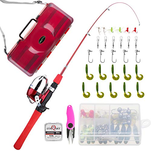 - KOMEX Kids Fishing Pole Telescopic Fishing Pod All-in-One Youth Fishing Kit with Net, Travel Bag, Reel and Beginner's Guide and Reel Kit for Boys, Girls, Or Youth