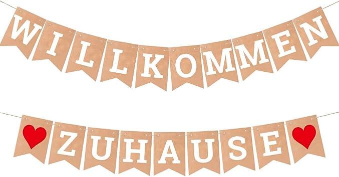 Willkommen Zuhause Banner Vintage Welcome Home Banner mit 19 St/ück Wimpeln und 5 Meter Lanyard MOPOIN Herzlich Willkommen Girlande f/ür Hochzeit Party Familie Festival Feier Haus Dekoration