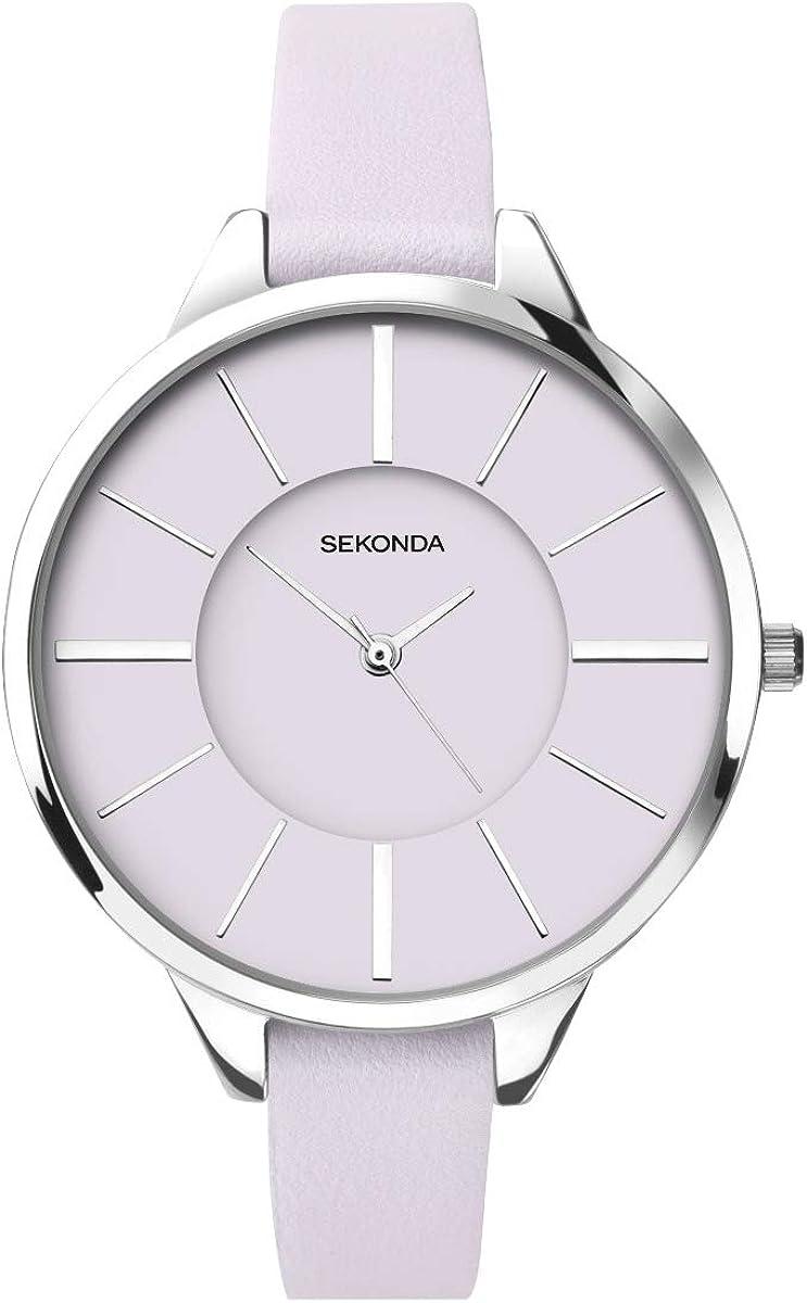 Sekonda Editions 2978 - Reloj para Mujer con Esfera Lila y Correa de Piel Lila