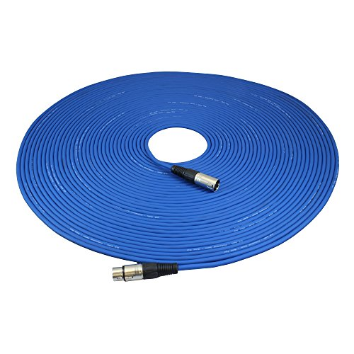 (GLS Audio 100ft Mic Cable Patch Cord - XLR Male to XLR Female Blue Microphone Cable - 100' Balanced Mike Snake Cord)