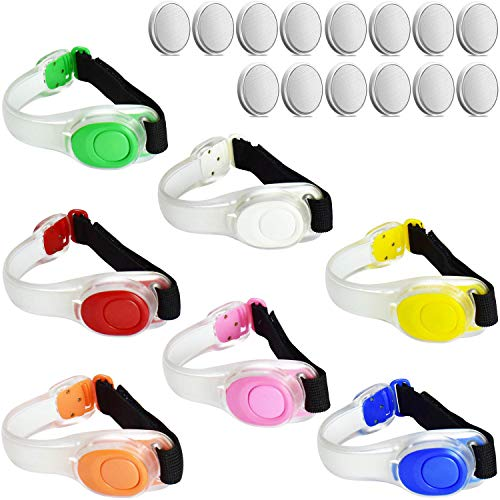 ANYTINUS 4 Pack LED Glow Armbands Bracelets Lights Up Flashlights Ankle Band Flashing Safety Light for Women Men Runners Joggers Pet Owners Cyclists with Extra Button Battery (7 Pack(Colorful))