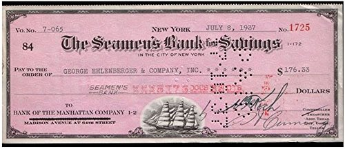 1937 SUPER NICE ORIGINAL RED 1930's SEAMEN'S BANK NYC DRAFT w SAILING SHIP! NOW JPMORGAN CHASE! READ UNIQUE...