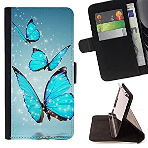For LG G3 Blue Sparkling Butterfly Style PU Leather Case Wallet Flip Stand Flap Closure Cover