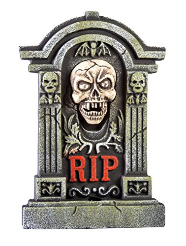 Morbid Enterprises Boneyard Howling Skull Tombstone Halloween Decor, Multi, One (1 Tombstone)