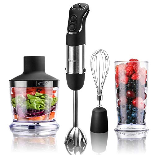 Enjapp 600 Watt Immersion Hand Blender,4-in-1 Electric Multi-speed Hand Blender Set with Blending Shaft, Whisk,Beaker and Chopper for Smoothies Mayonnaise Baby Food Yogurt Sauces Soups,Black