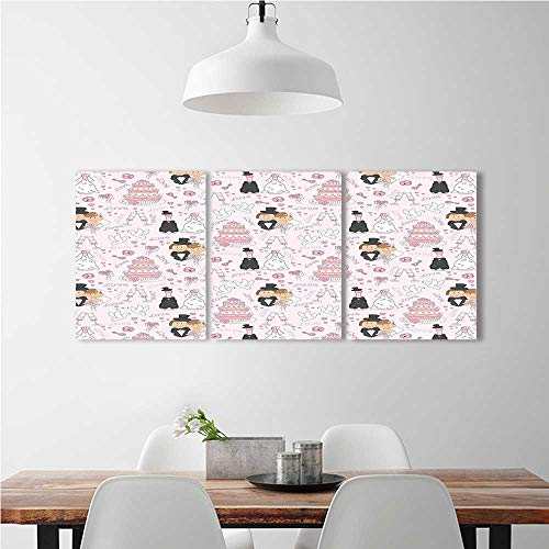 aolankaili 3 Piece Wall Art Painting Frameless Couple Getting Married Cakes Drinks Pink White Black Posters Wall Decor Gift W24 x H35 x 3pcs