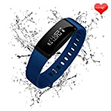 Fitness Tracker, RIVERSONG Heart Rate Monitor Blood Pressure Bracelet Sedentary Reminding Sleep Management Alarm SNS Call Reminder Pedometer Sport Activity Healthy Wristband with OLED Touch Screen Smart Watch for Android iOS Smartphones (Blue)