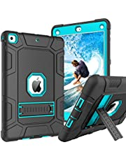 iPad 9.7 Case 2018/2017 iPad 6th/5th Generation Cases GUAGUA Kickstand Heavy Duty 3 in 1 High Impact Full-Body Rugged Bumper Shockproof Protective Tablet Case for iPad 9.7 2018/2017 Black/Blue