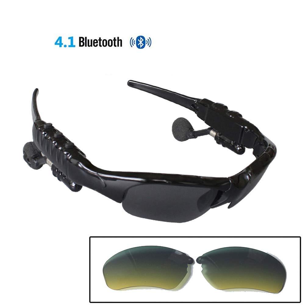 LHY RIDING Bluetooth Sports Glasses Sports Cycling Glasses Wireless Night Vision Intelligent Multi-Function earplugs Sunglasses,E