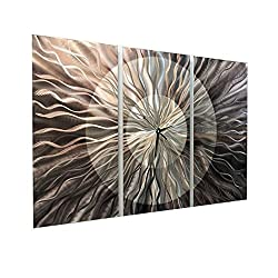 Modern Abstract Silver Functional Art Metal Wall Clock - 3 Piece Contemporary Hand-Crafted Home Office Decor Sculpture - Obsidian Burst by Jon Allen - 38-inch