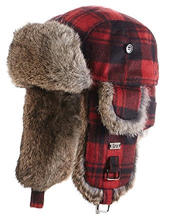 1e455181dd826 Buffalo Check Rabbit Fur Aviator Hat - S at Amazon Men s Clothing store