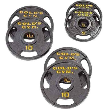 Golds Gym Olympic Plate Set with Grip Plate Design Make Working Out Safer and More Productive (50 lb)