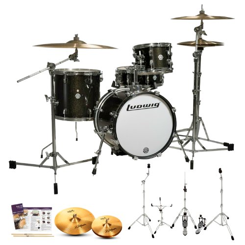 Ludwig LC179X016 Breakbeats by Questlove Black Sparkle 4-Pc Shell Pack w/ Zildjian ZBT Cymbals, Hardware, Survival Guide & Drumsticks -  LC179X016-Kit-5