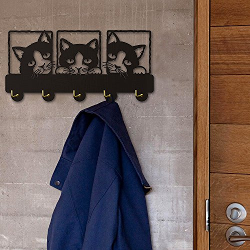 Peeping Cat Wood Coat Hook 3D Meow Wall Art Animal Creative Triple Cat Theme Cute Wall Art Home Decor Wall Mounted Hanger Hooks