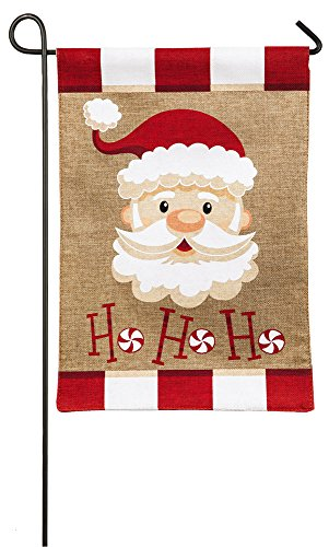 Evergreen Burlap Peppermint Santa Garden Flag, 12.5 x 18 inches