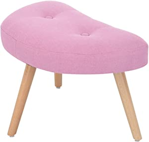 ZF furniture Fabric Upholstered Footstool, Adjustable Stools Solid Wood Footrest with 4 Legs Entryway Change Shoe Bench Padded Sofa Stools-Pink-a 66x35x37cm(26x14x15inch)