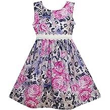 Sunny Fashion Girls Dress Purple Rose Flower Print Lace Waist Sleeveless