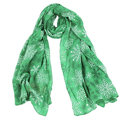 CBC CROWN CHRISTMAS THEME SCARF (VARIOUS PATTERNS AND DESIGNS) (GREEN WITH MULTI SNOWFLAKES)
