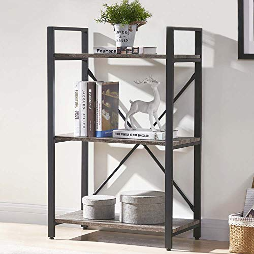 BON AUGURE 3 Shelf Industrial Bookcases Furniture,Sturdy Open Bookshelf, RusticIndoorPlant Shelf, Dark Oak (Finish Stand Plant Oak)