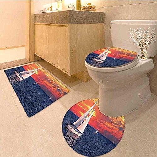 3 Piece Toilet lid cover mat set Sailing On A Calm Evening Setting Sun Colored Sky Extralong Very Absorbent Bathroom Bath Mat Contour Rug - Evening Sun 16 Piece