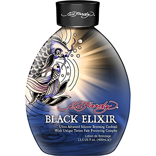 Ed Hardy Elixir Silicone Bronzer Tattoo Fade Protection Tanning Lotion, 13.5 oz, Black by Ed Hardy