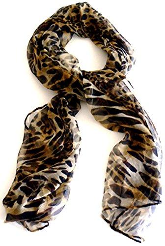 - Silk Salon Oblong 100% Silk Scarf Belt Hand Rolled Edges Animal Prints A711