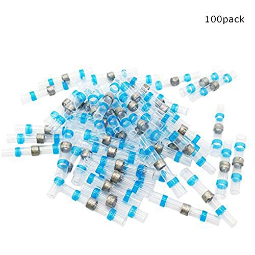 Ambuker 100pcs 16-14AWG Solder Seal Wire Connector Heat Shrink Butt Connectors Terminals Electrical Copper