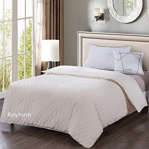Cheap Royhom Quilted Duvet Cover for Weighted Blankets 48 x 72 Inches - Removable Weighted Blanket Cover - Soft Minky Dot Beige Black Friday & Cyber Monday 2019