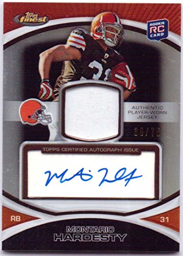 Montario Hardesty 2010 Topps Chrome Black Refractor Autograph Rookie Worn Patch #83 - 30/75 - Cleveland Browns - Tennessee Volunteers Brown Football