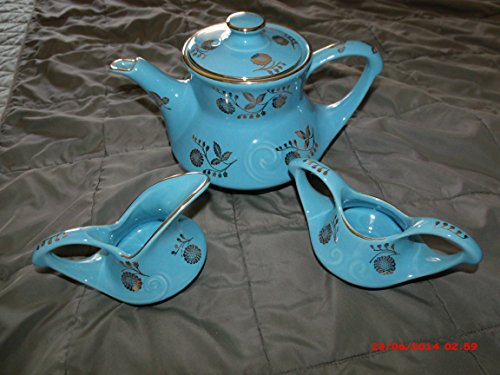Light Blue W/gold Trim Vintage Coffee or Tea Pot with Sugar and Creamer Made By Pearl China Company - China Pearl China Creamer