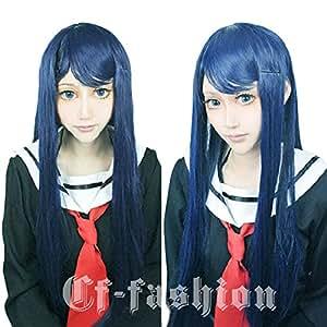 Cf-fashion Danganronpa Sayaka Maizono Cosplay Wig Dark Blue Party Costume Wigs + Free Wig Cap