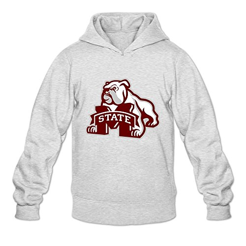 Leberts Ash Mississippi State Bulldogs 100% Cotton Hoodies For Mens Size X-Large ()