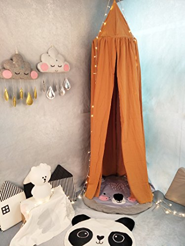 Princess Bed Canopy Mosquito Net for Kids Baby Crib, Round Dome Kids Indoor Outdoor Castle Play Tent Hanging House Decoration Reading nook Cotton Canvas Height 240cm/94.9 inch (Brown)